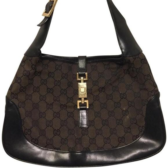 Gucci Handbags - GUCCI Jacki O Black/ Brow Canvas w/ leather Trim